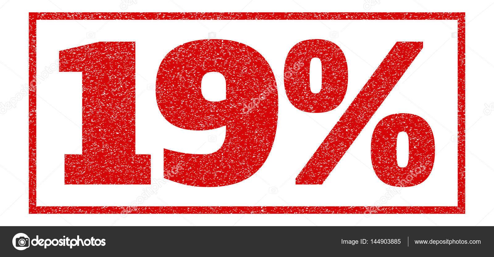 红色的橡皮印章加盖 19%文本.矢量标题矩形框架内.