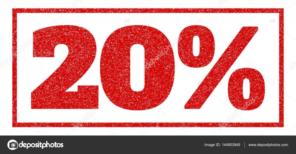 红色的橡皮印章加盖 20%文本.矢量邮件里面矩形横幅.