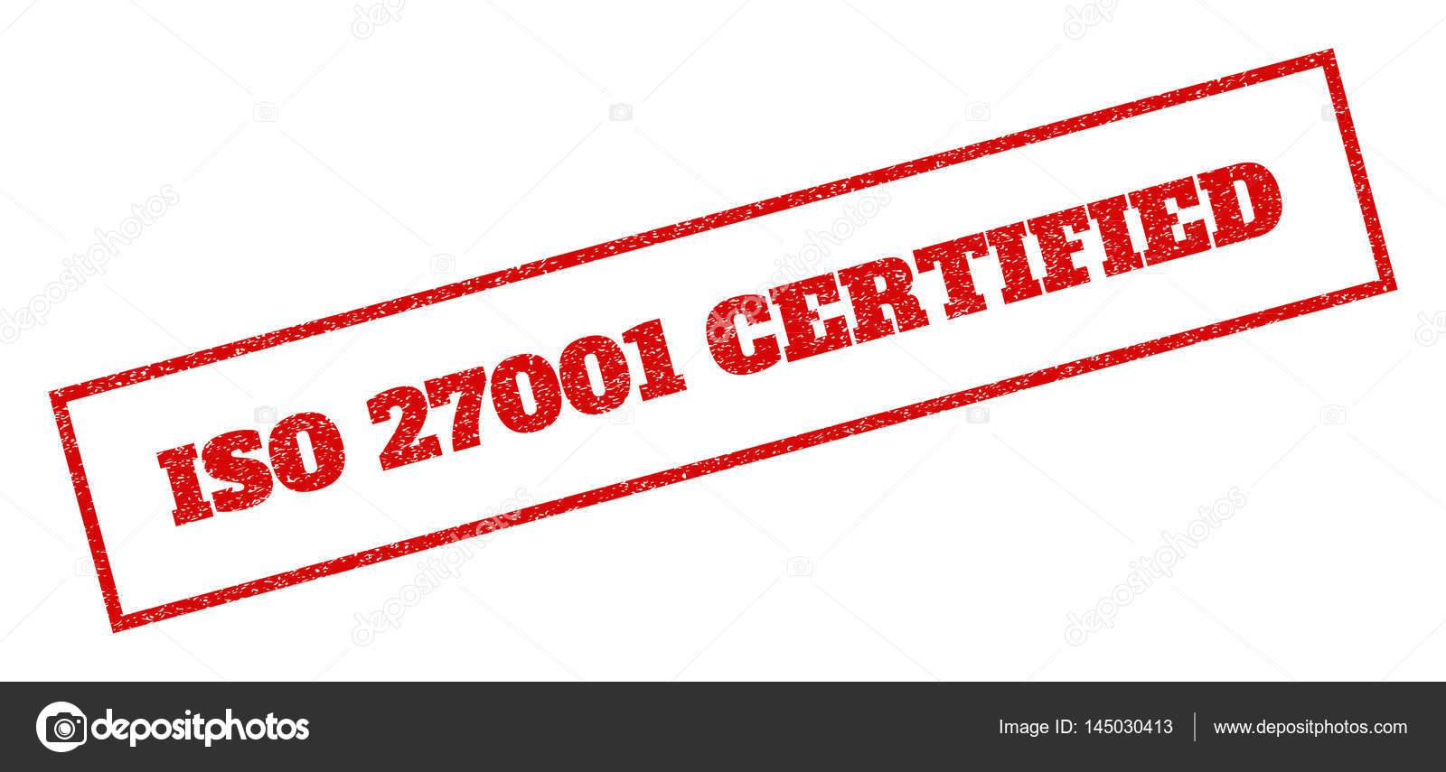红色的橡皮印章加盖 iso 27001 认证的文本.矢量标记矩形框架内.