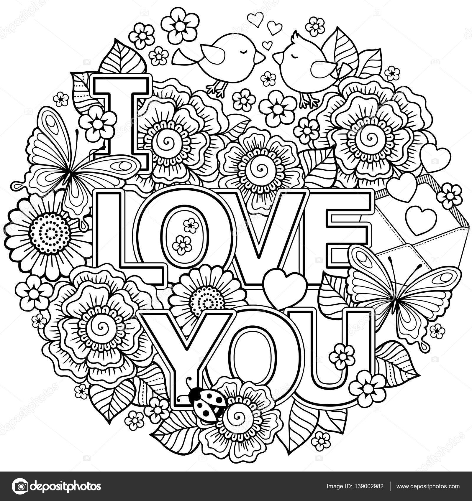 Coloring pages for adults valentines day - Vector Coloring Page For Adult Rounder Frame Made Of Flowers Butterflies Birds Kissing And The Word Love Ornamental Wreath Design For Valentine S Day
