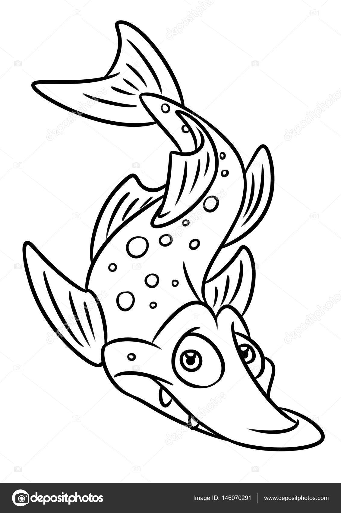 Boy Fishing Fish Coloring Page Stock Illustration Image 86598711