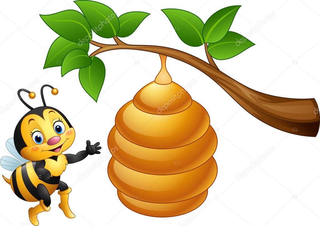 dibujos animados la abeja y un panal de abejas archivo Bee Vector Pattern Bee Logo Design Vector Illustration