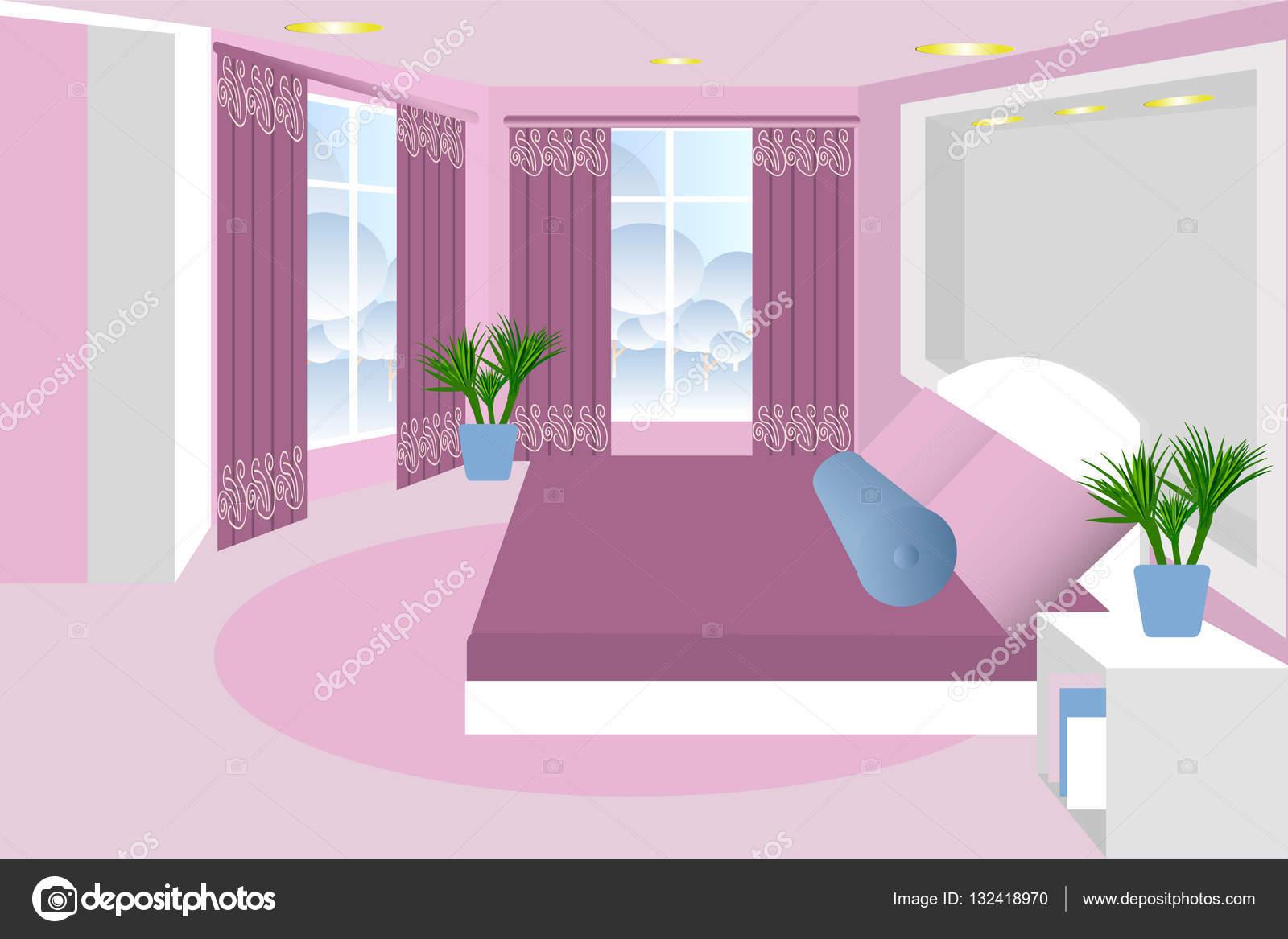 Dormitorio el interior de la habitaci n vector cama for Dormitorio animado