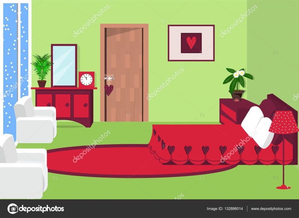 Ilustraci n de vector interior del dormitorio habitaci n for Dormitorio animado