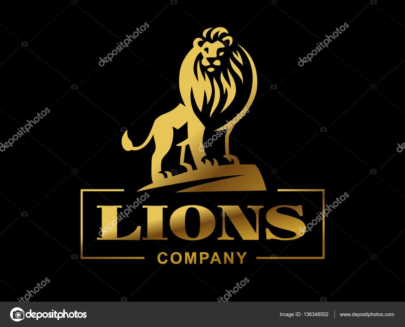 Black lion logo design