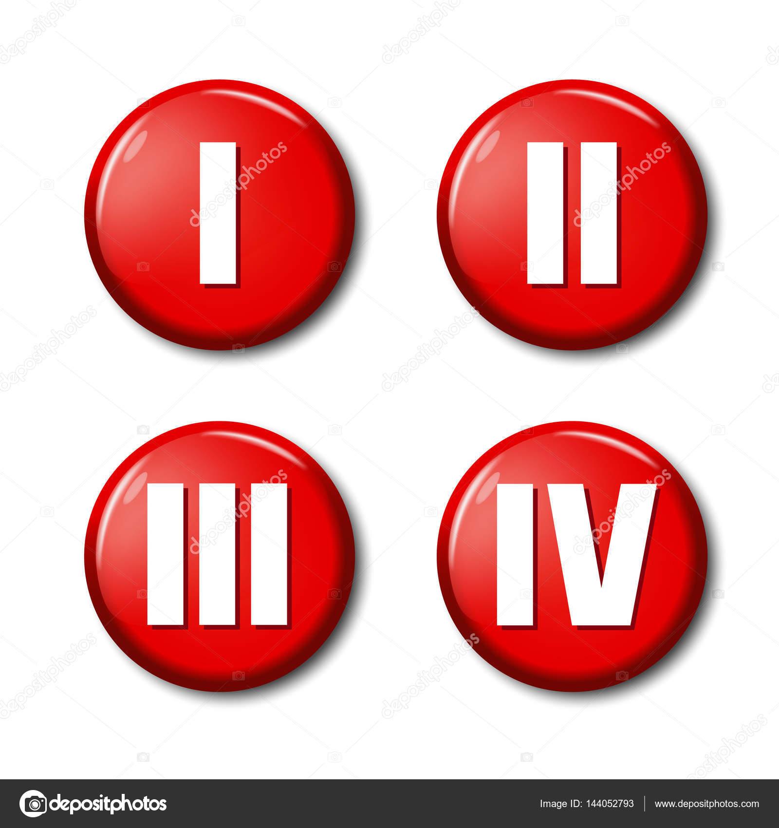 集的红色圆形按钮图标用罗马数字 1,2,3,4.