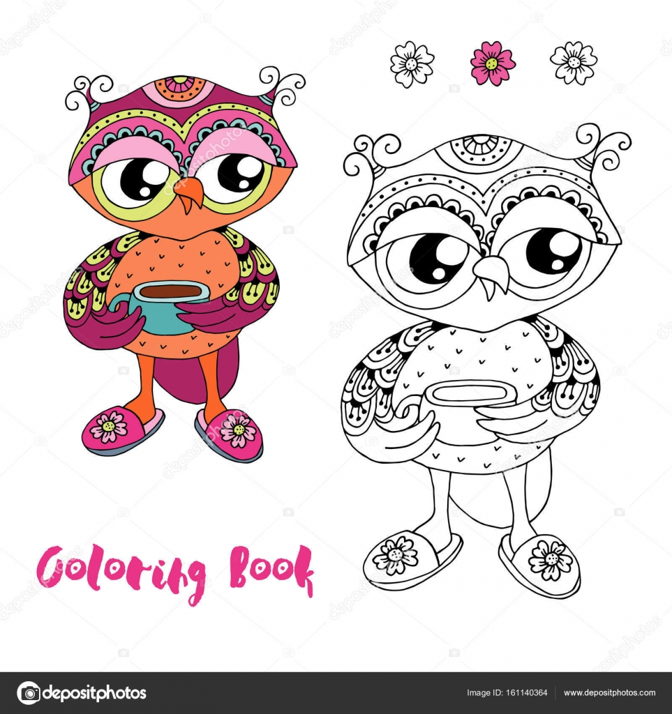 Colorful cute cartoon owl