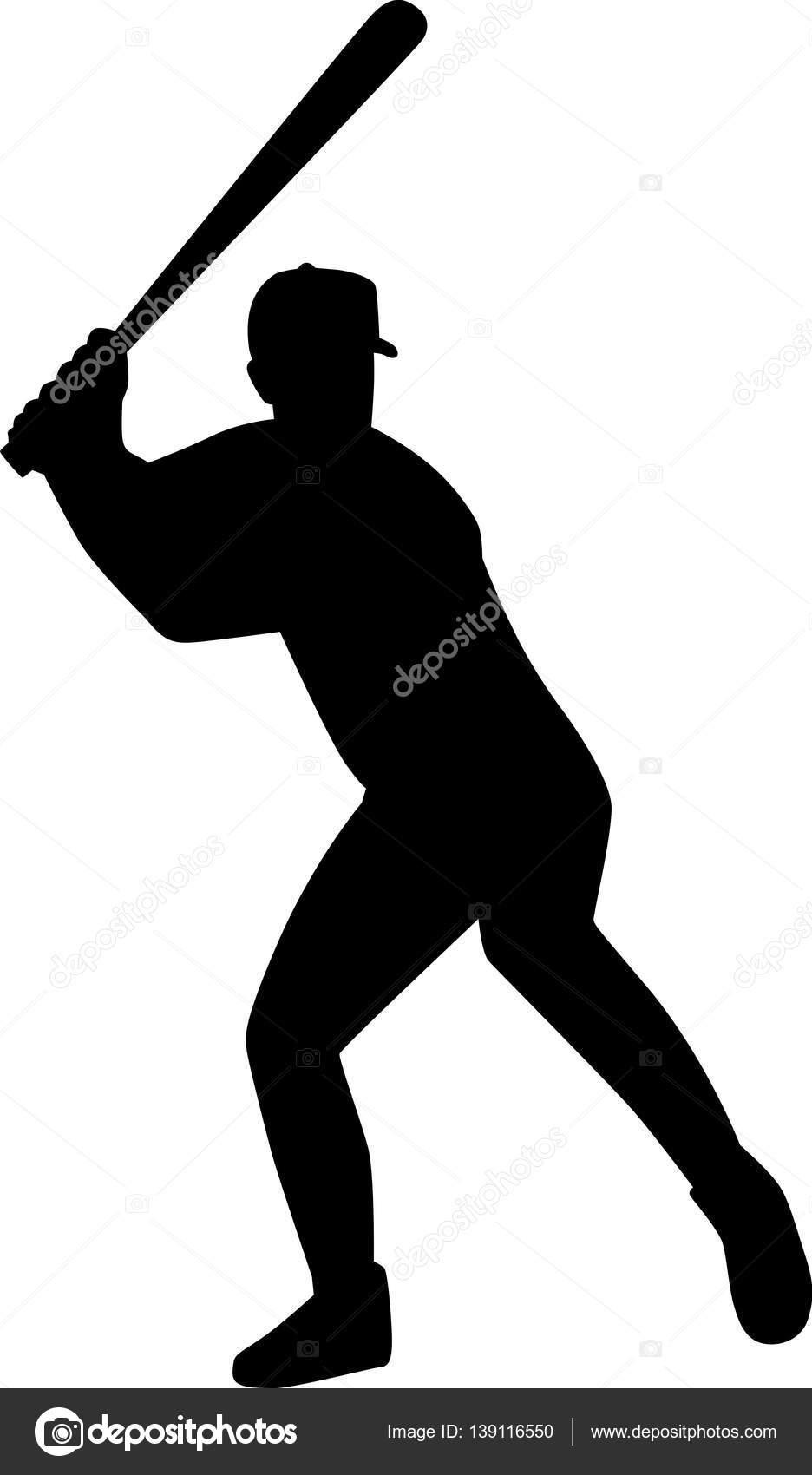Baseball batter silhouette clip art