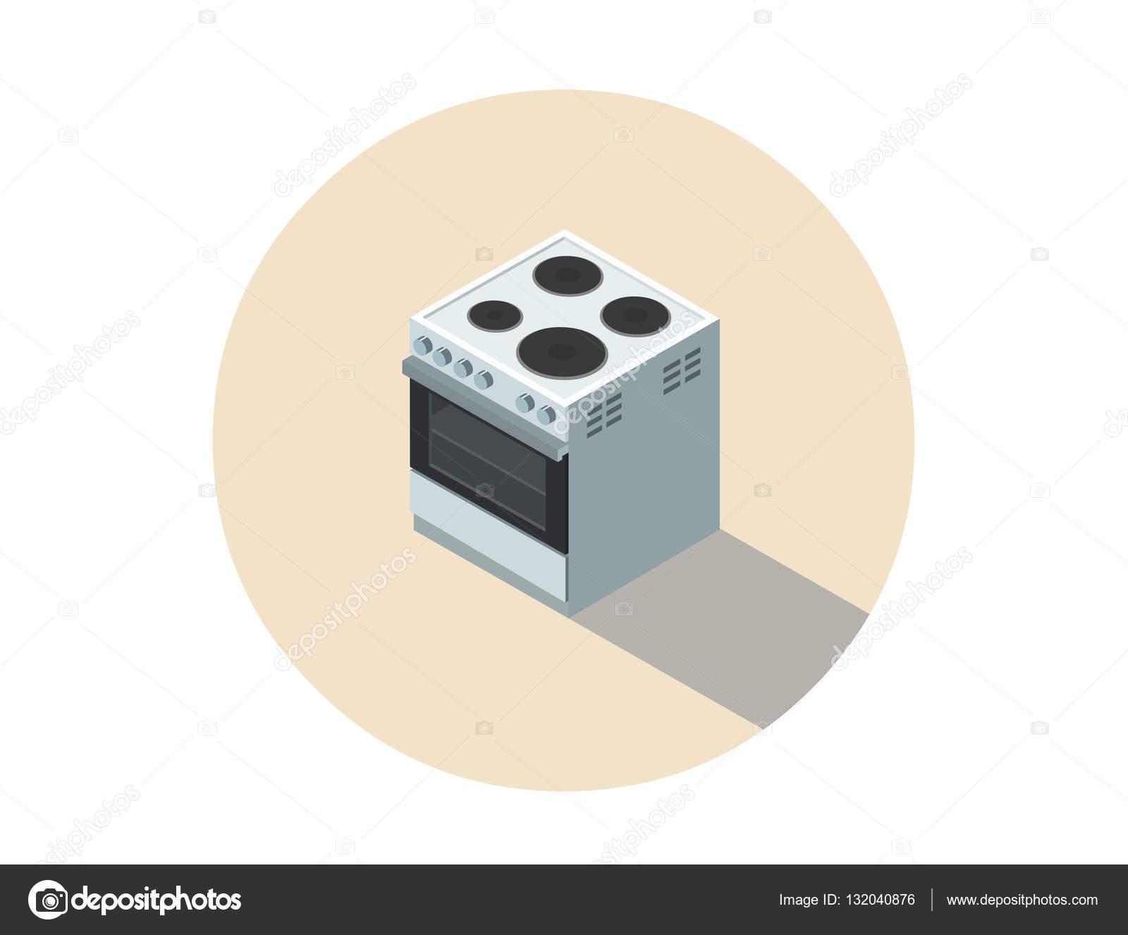 전기 밥 솥, 스토브, 3d 평면 디자인 부엌의 벡터 분해 그림 ...