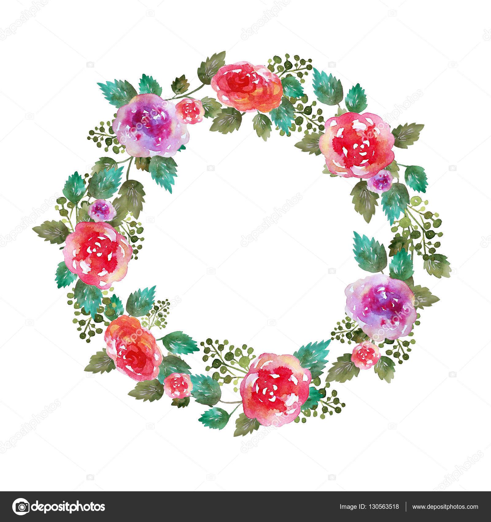 Springtime Wreaths バラの花と葉でビンテージ フローラル リース結婚式フレーム。グリーティング カード。手描き水彩の要素。装飾イラスト