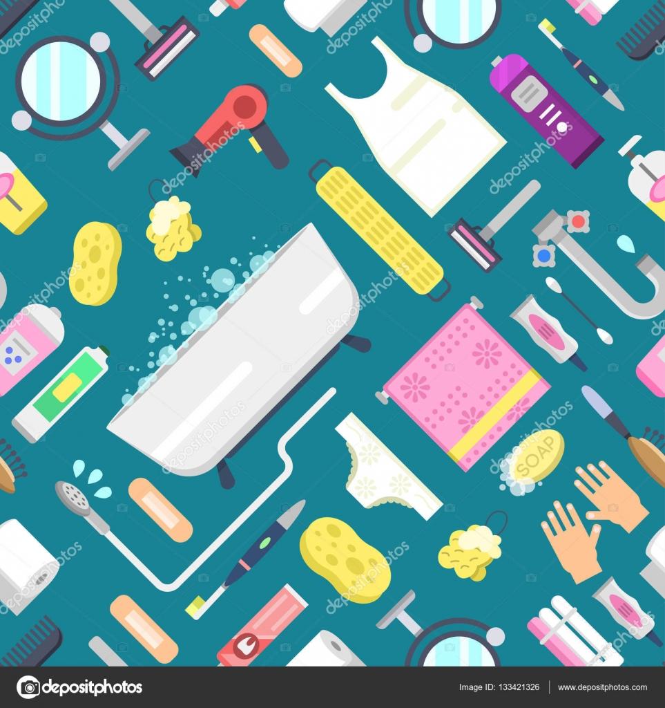 Patr n de higiene con los elementos del vector de cuarto for Elementos del bano