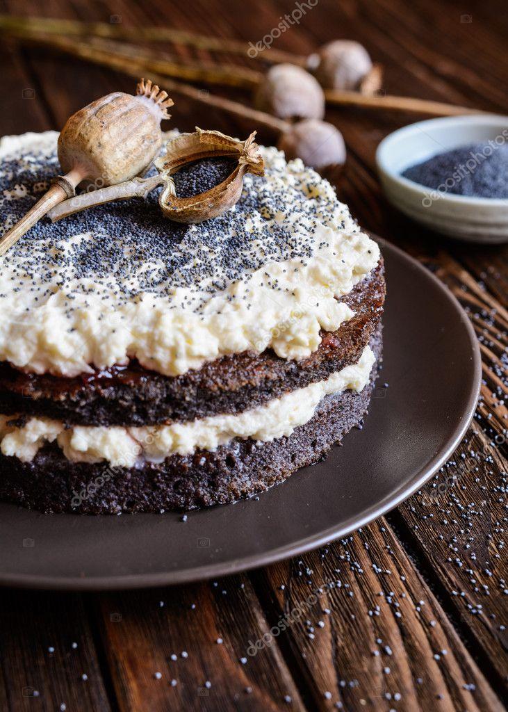 Торт с маскарпоне и маком