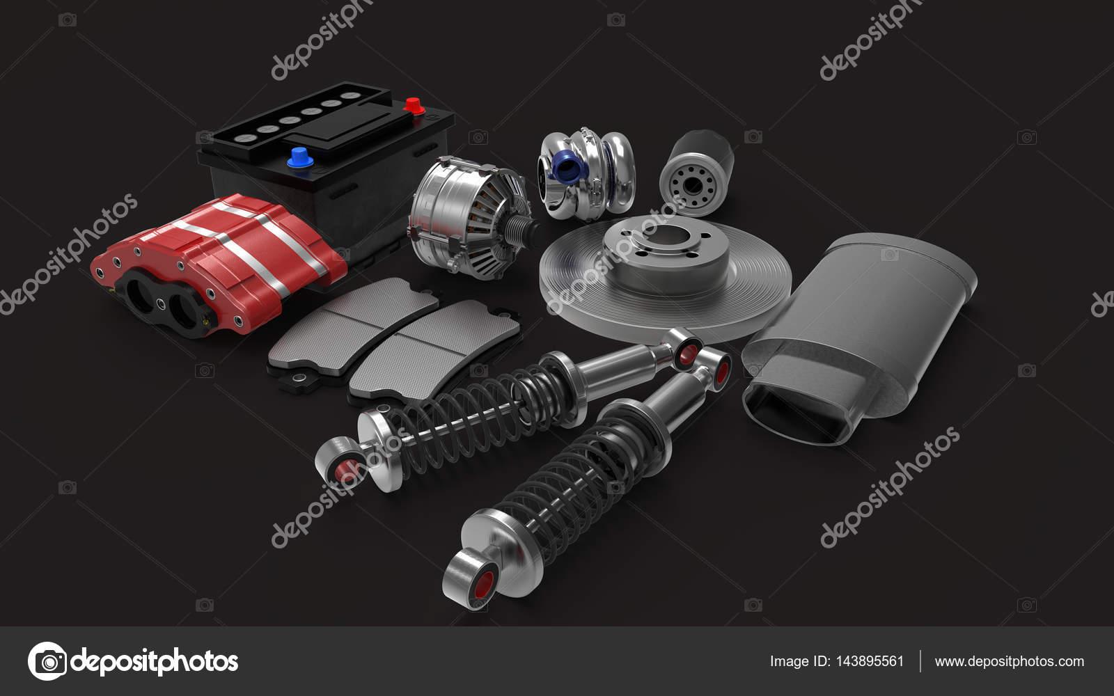 在背景上的汽车零件.3d 渲染– 图库图片