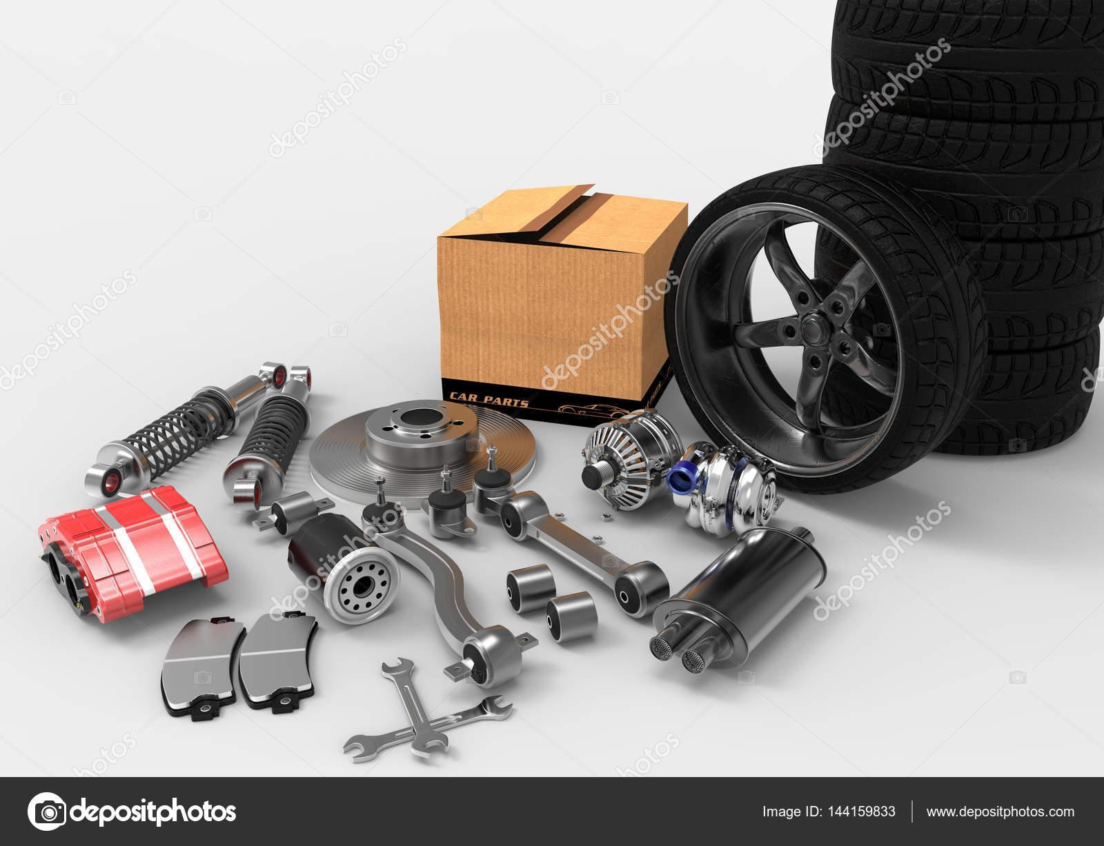 在背景上的汽车零件.汽车零件盒.3d 渲染– 图库图片