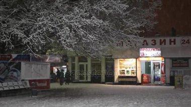Market near railways station in wintertime