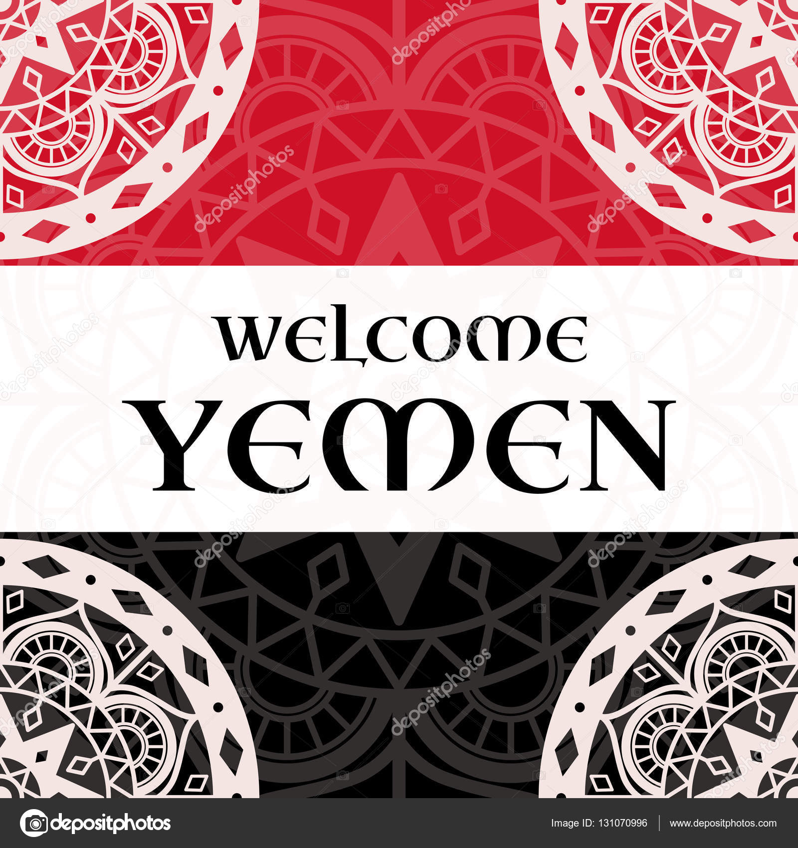 welcome to yemen vector illustration travel design vector illustration travel design or nts on yemen colors flag background concept for tourism banner cover information card or flyer template