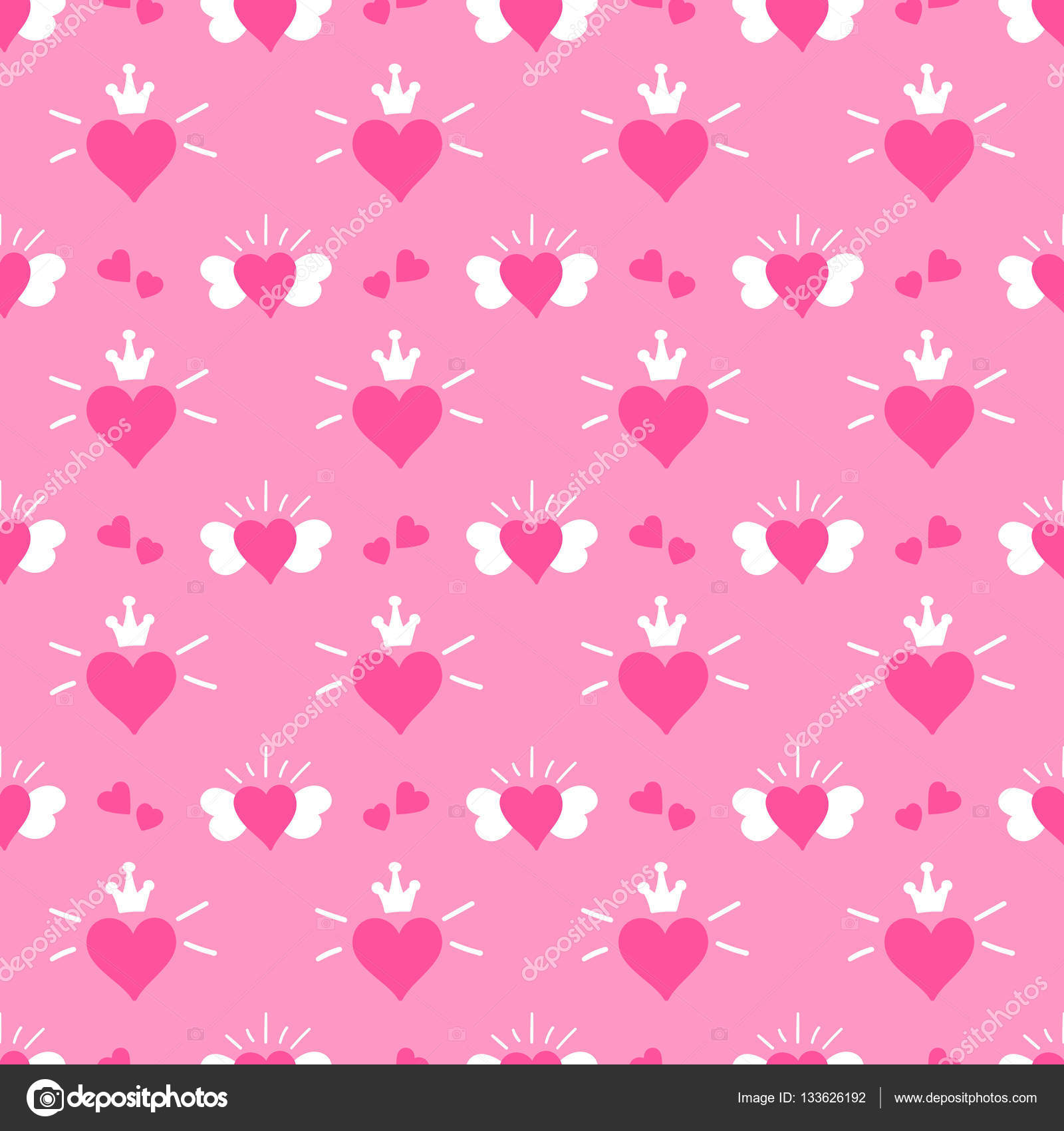 Little princess pattern vector pink print hearts with - Papel decorativo infantil ...