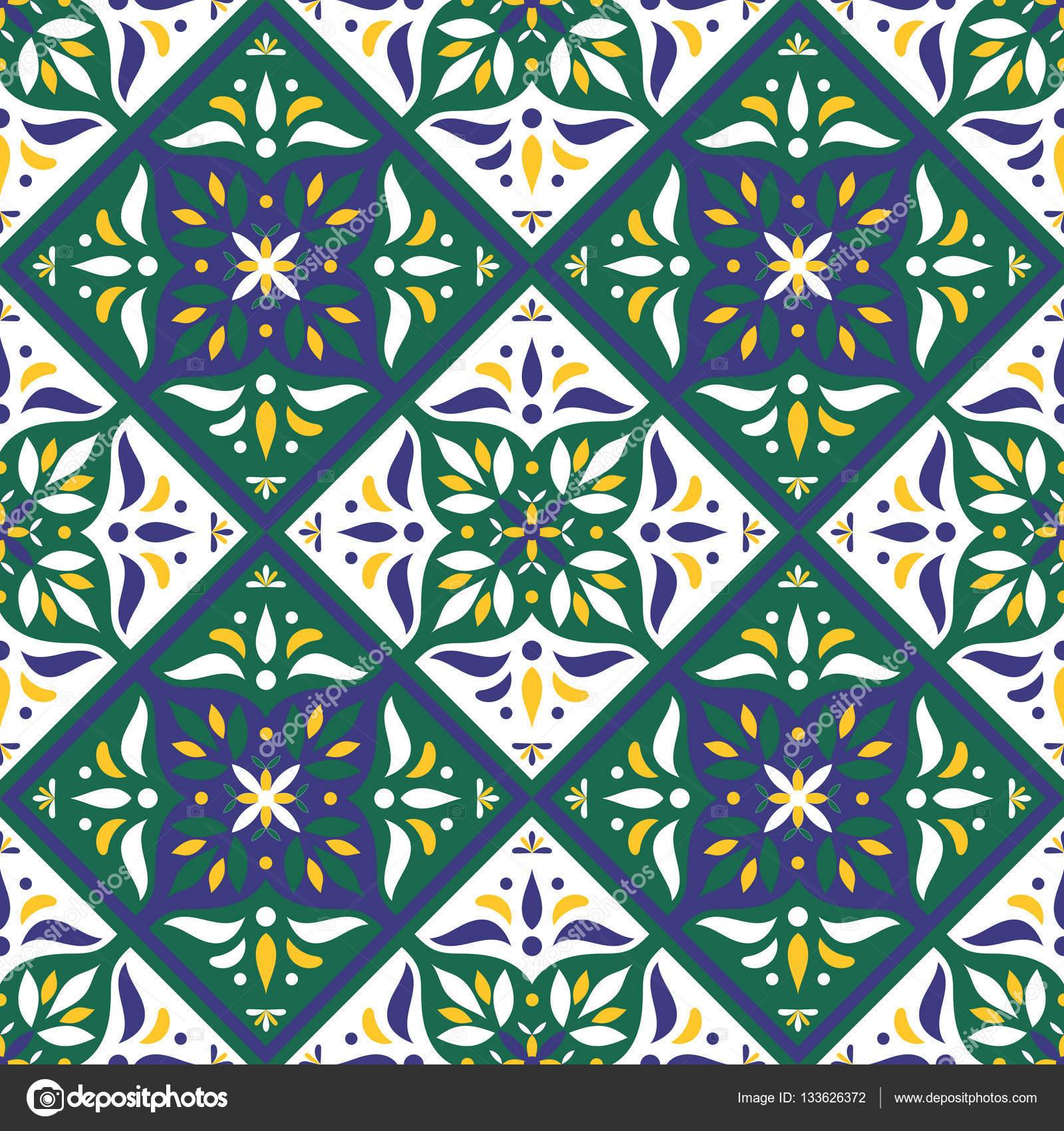 Italian ornaments - Tiles Pattern Vector With Diagonal Oriental Ornaments Portuguese Azulejo Mexican Talavera Spanish Italian Majolica Or Arabic Motifs