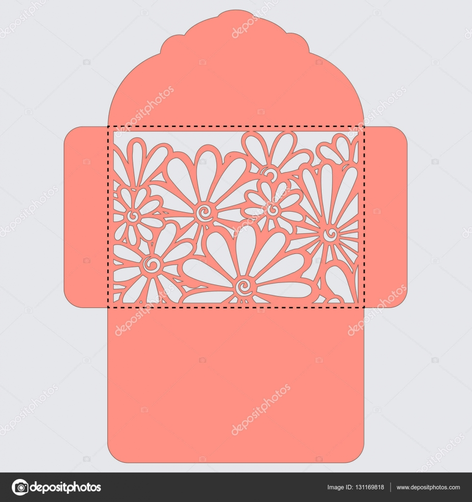Lasercut vector wedding invitation template. Wedding ...