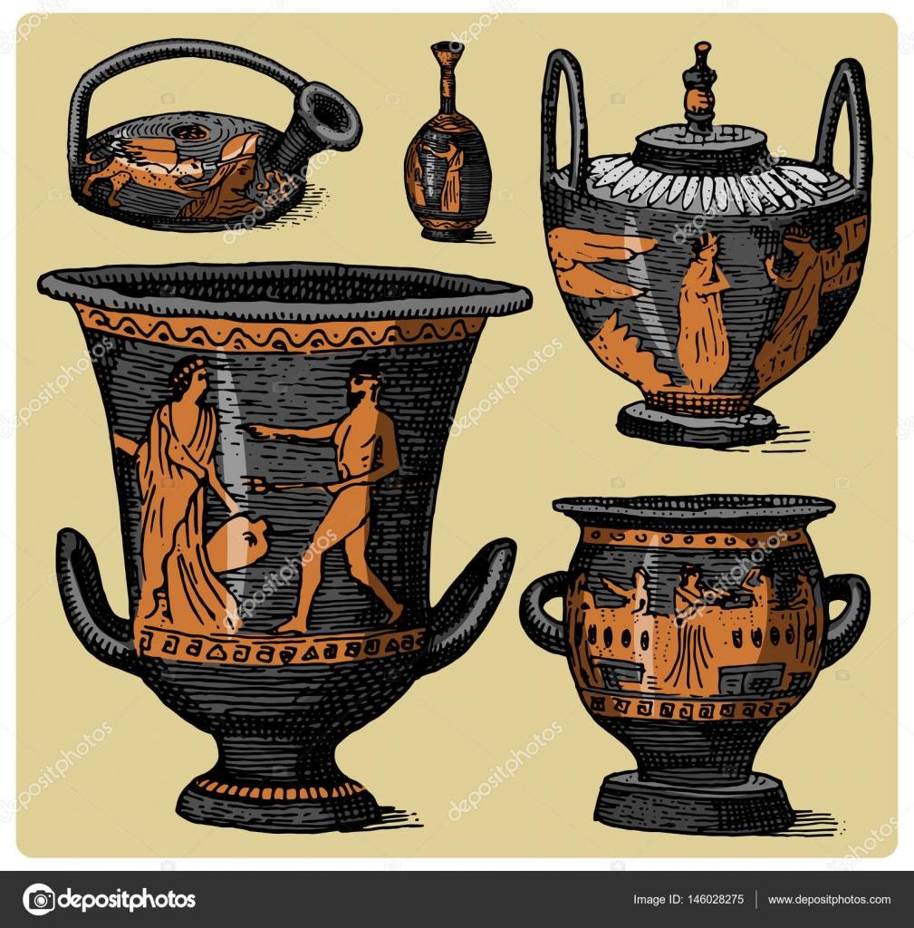 antike, antike amphoren festgelegt, vase mit gravierten, Hause ideen