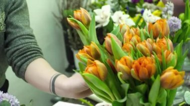 Florist creating a beautiful bouquet with tulips