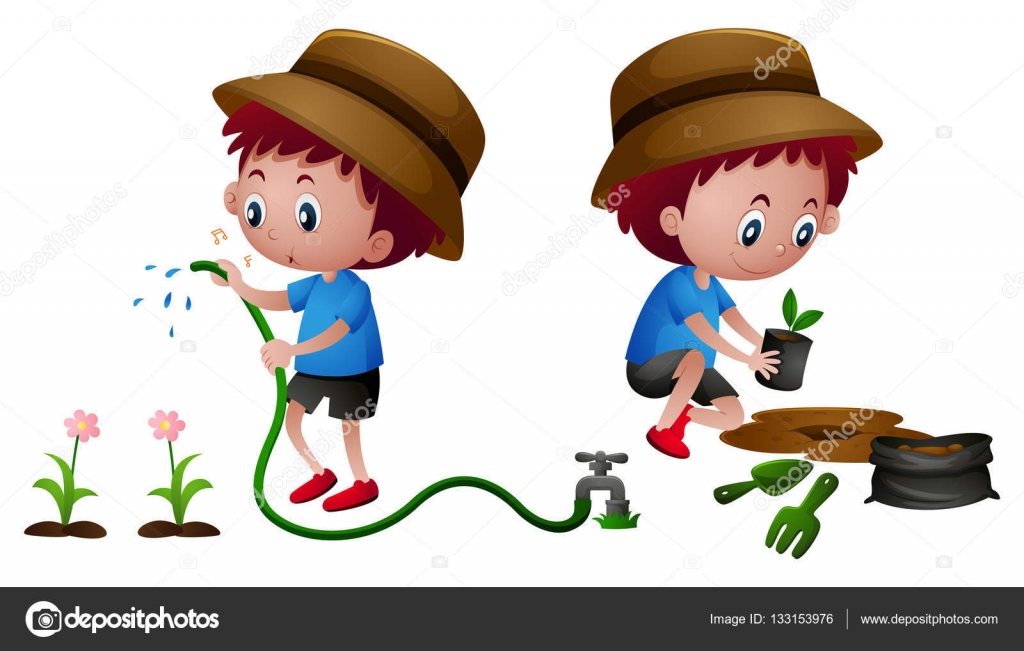 Watering plant clipart