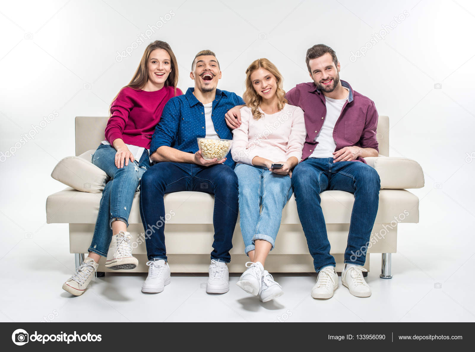 Three friends on couch xxx agree, remarkable