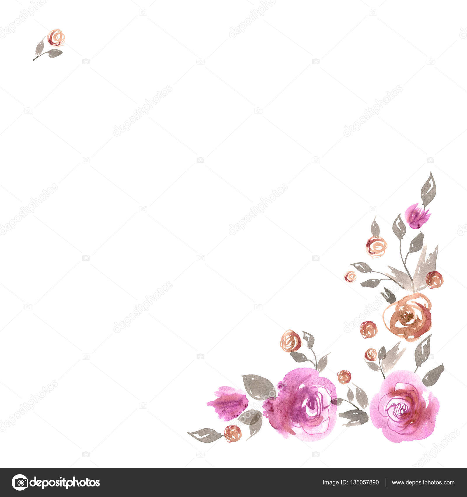 Cute Watercolor Flower Border Background With Pink Roses