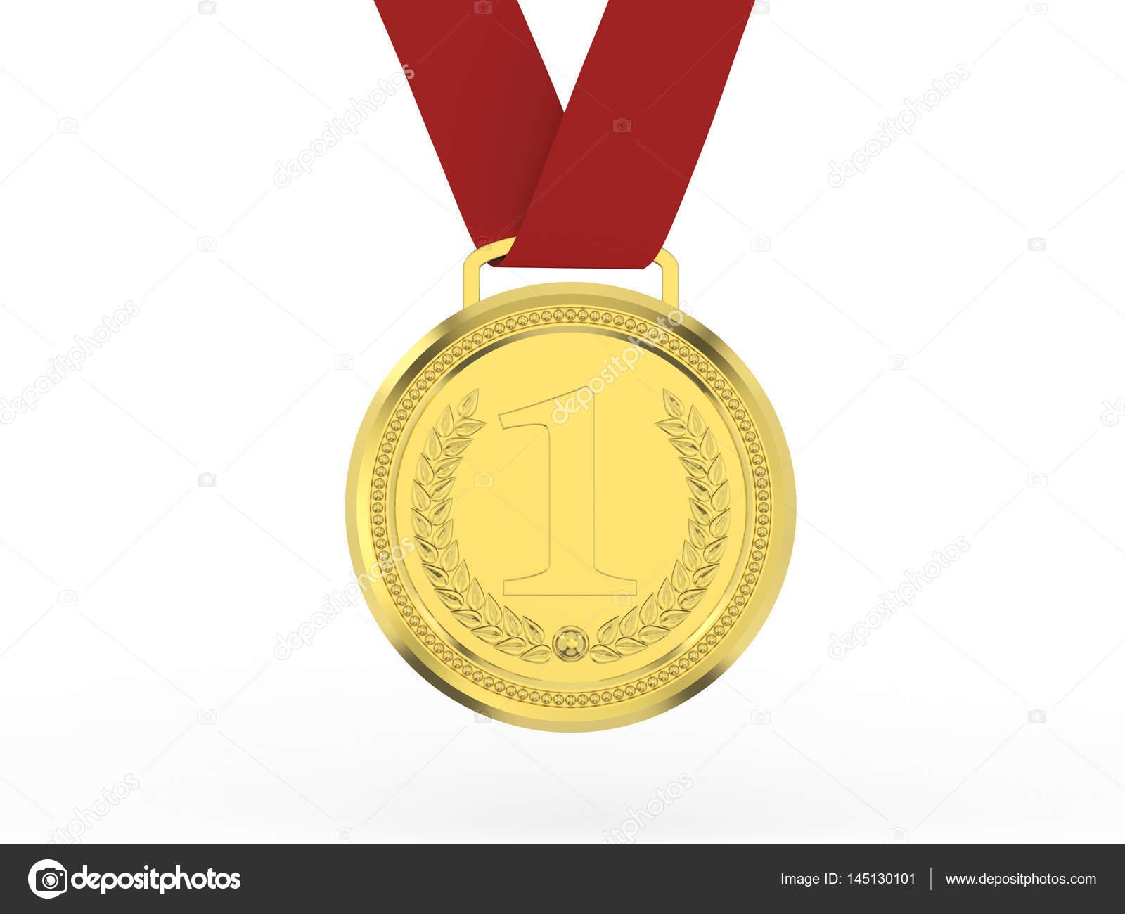 3d 图金奖牌与白色背景上的红丝带– 图库图片