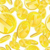 Seamless pattern with golden coins randomly placed over white background Money gold rain repeating texture in EPS8 vector