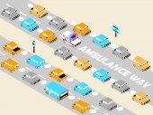 Beautiful isometric design of ambulance on the trafficambulance on the road conceptambulance way