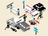 Beautiful isometric style concept design of emergency situation scene; car crash CPR performing and police officer