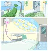 Insieme di vettore del fumetto di ambiti di provenienza medici