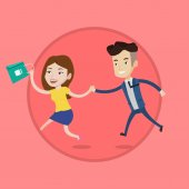 Young caucasian customers rushing on sale to the shop Woman and man running in a hurry to store on sale Shopping sale concept Vector flat design illustration in the circle isolated on background