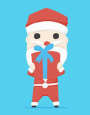Santa claus character  Gift Box and icon cartoon vector illustration