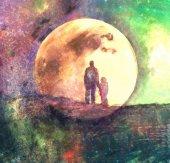 Mixed media fairy landscape with moon