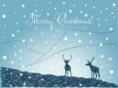Christmas card with hand drawn couple of reindeers silhouettes on blue winter backgroun