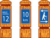 Illustration showing wooden mile marker signs like wood signs one would see along a hiking tramping trail set on isolated white background done in retro style