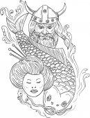 Viking kapr gejša hlava černá a bílá kresba