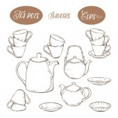Big set utensil includes cups teapots and plates on white background hand-drawn vector illustration