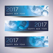 Best Wishes - Set of Three Abstract Sparkling Bright Colorful Bubbly Transparent Bokeh New Year's Header Banners for Webdesign Web Template - Illustration in Freely Scalable and Editable Vector Format