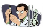 Stock illustration People in retro style Presentation template Scientist working at the laboratory