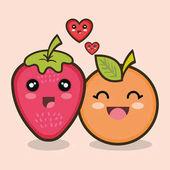 Set cartoon fruits design vector illustration eps 10
