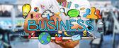 Podnikatel, pomocí ručně kreslených firemní prezentace