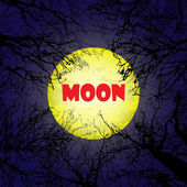 Yellow moon with dark trees