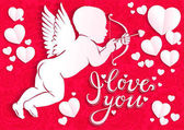 White paper angel with bow and arrow and the words  ''I love you''