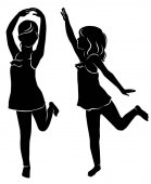 Silhouette of dancing girl in the face and profile