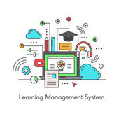 Vector Icon Style Illustration Logo of Learning Management System (LMS) E-Learning software application for the administration documentation tracking reporting and delivery of electronic educational technology