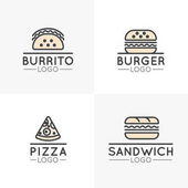 Vector Icon Style Logo Set of Simple Cartoon Fast Food Items Hot Dog Wrap Pizza Burrito and Sandwich Burger Isolated Linear Design Collection