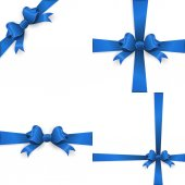 Blue ribbon with bow on a white background EPS 10 vector file included
